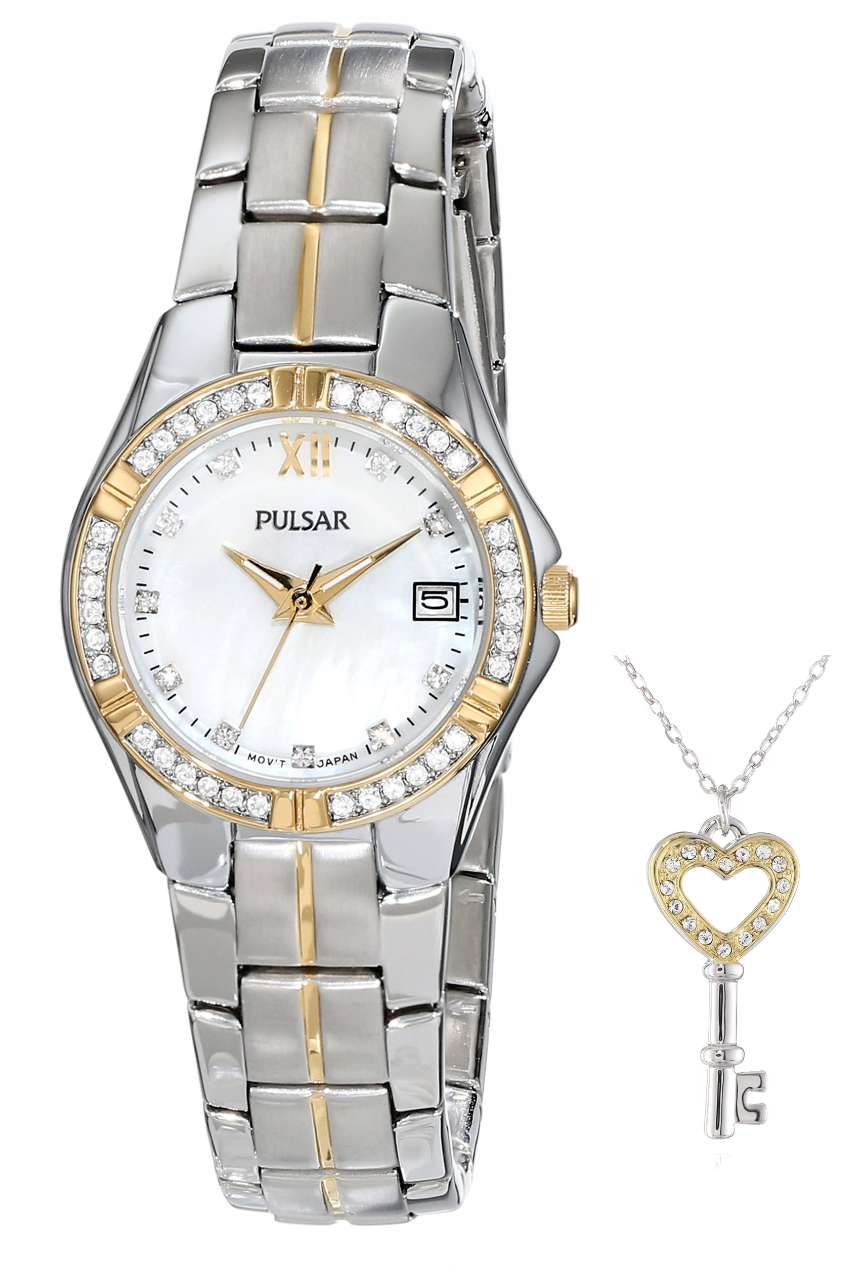 Pulsar Women's PH7244 Key Necklace with Japanese Quartz Watch Set