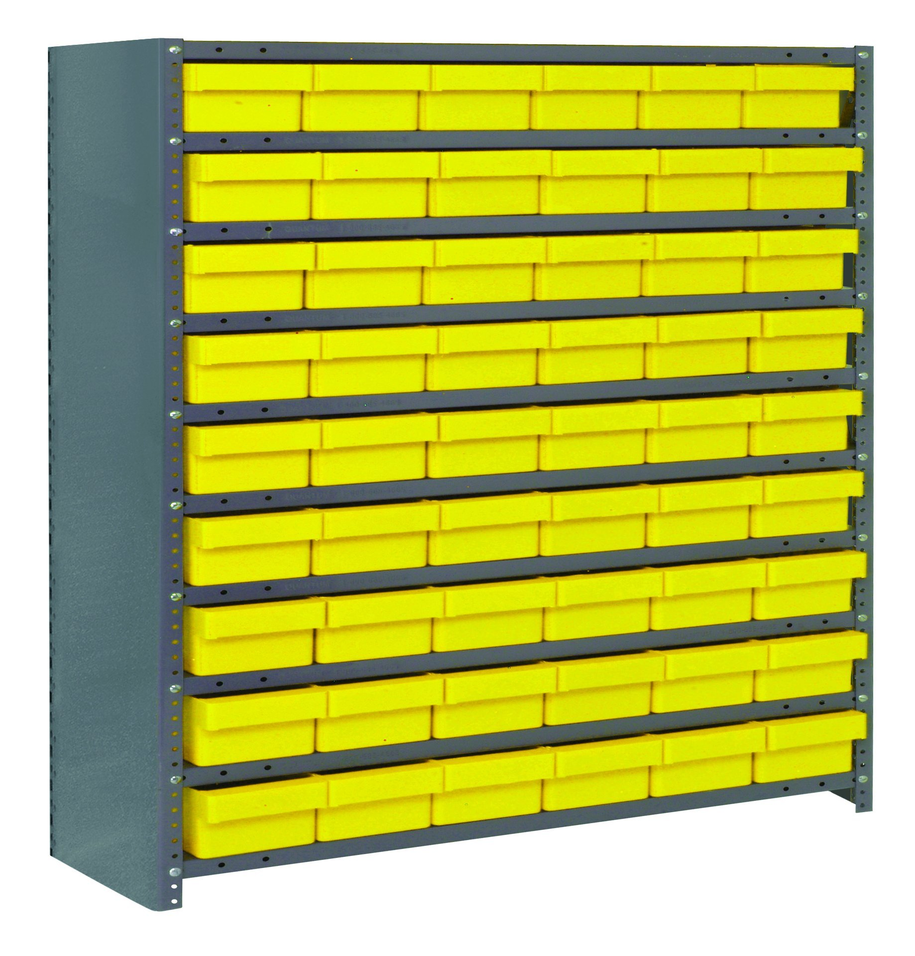 Quantum Storage Systems CL1239-401YL Closed Shelving System with Super Tuff Euro Drawers, 54 QED401 Shelf Bins, 12'' D x 36'' W x 39'' H, Yellow