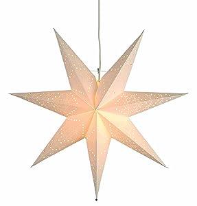 """Best Season, Stella luminosa in carta """"Sensy Star 55"""", con cavo di alimentazione, Bianco (cream), ø 55 cm"""