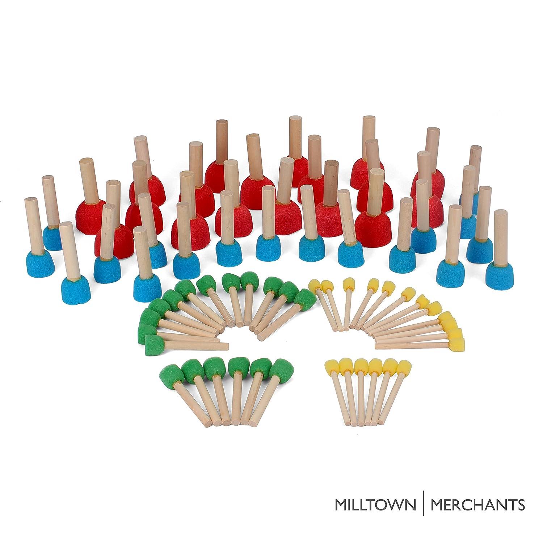 Foam Pouncer Assortment - Sponge Painting Stippler Set 24/pkg - Foam Brush Value Pack - 6 (1/2), 6 (3/4), 6 (1-3/16) 6 (1-3/4) 6 (3/4) Milltown Merchants