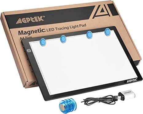 Magnetic A4 LED Artcraft Tracing Light Pad 4 Light Box Ultra-thin physical buttons control with memory function USB Powered Pad Animation,Sketching,Designing,Stencilling X-ray Viewing W//USB Adapter