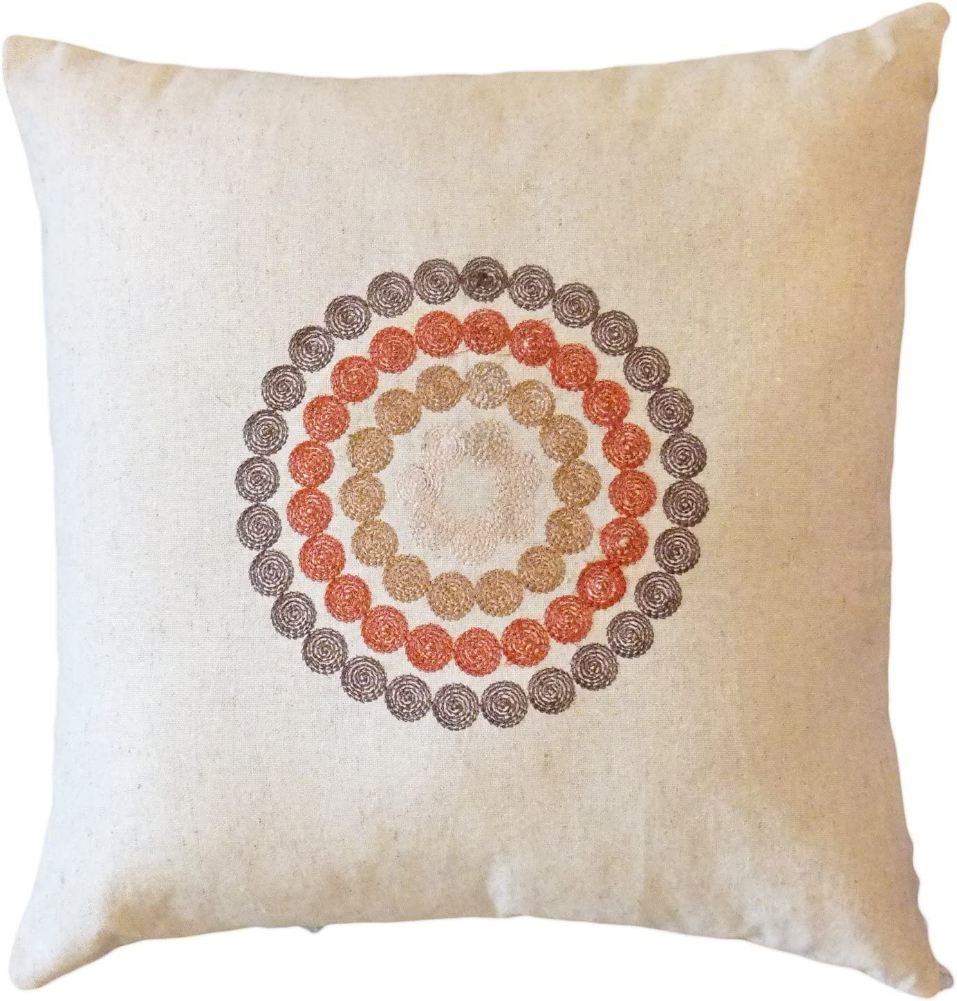 Amazon Com Blue Dolphin Decorative Embroidered Circles Throw Pillow Cover 17 Brown Home Kitchen
