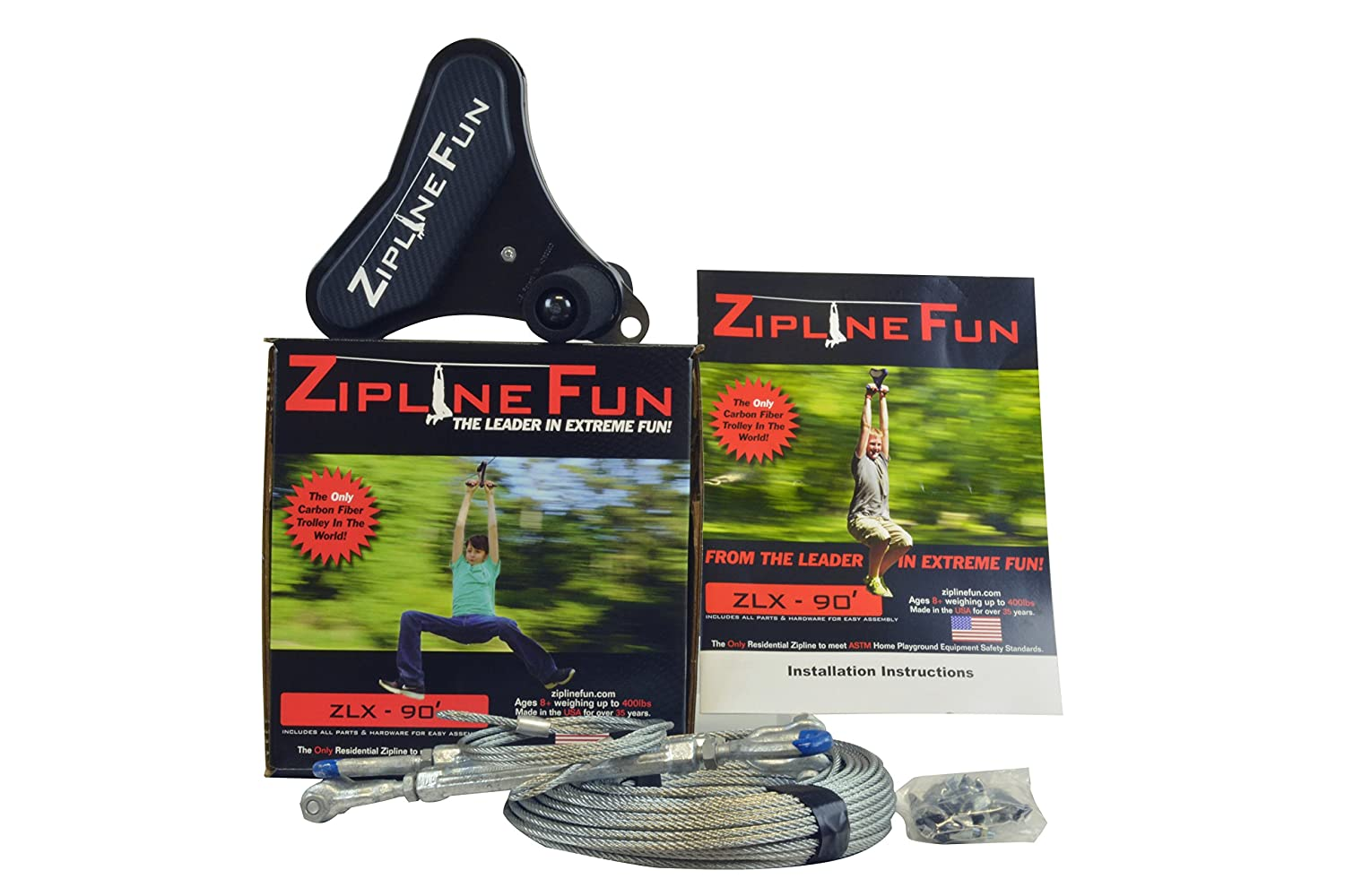 amazon com adventure parks zlx xtreme zip line 90 u0027 toys u0026 games