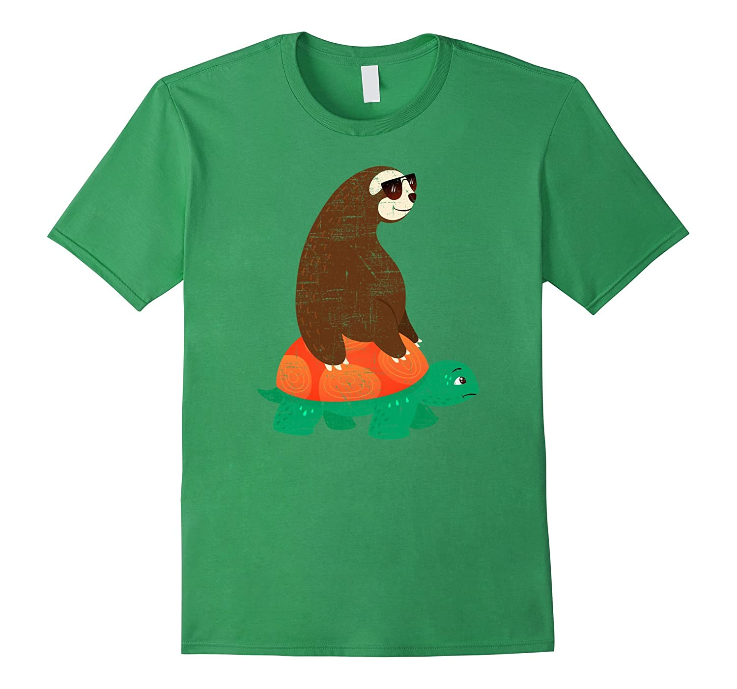 cool sloth with sunglasses riding on tortoise t shirt hntee com