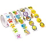 Assorted Achievement Stickers for Kids - Rolls of Encouragement Sticker Pack Teacher Supplies In Recognition of Job Well Done 4 Rolls 600 Stickers