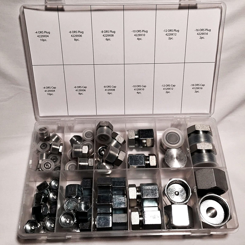 64 Pcs Lot Brand New ORFS O-RING ORS Plug & Cap Flat Face Hydraulic Fitting Seal Kit Set