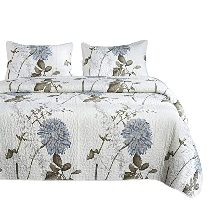 013c9282d Wake In Cloud - Floral Quilt Set, Botanical Flowers Pattern Printed, 100%  Cotton