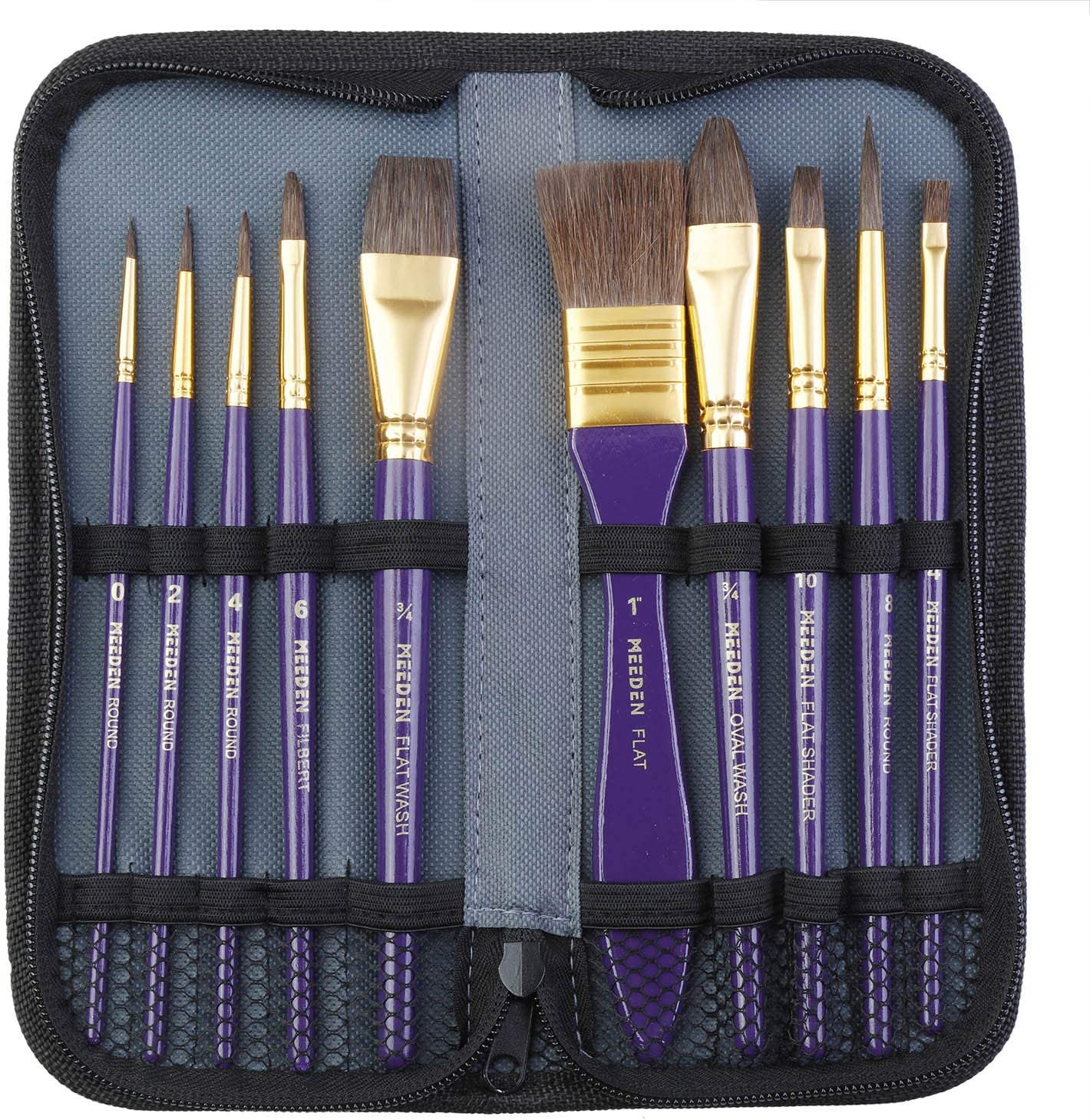 Perfect Gift for Artists MEEDEN 10 Pcs Paint Brush Set Pony and Nylon Hair Includes a Carrying Case for Watercolor Acrylic Painting Adults /& Kids