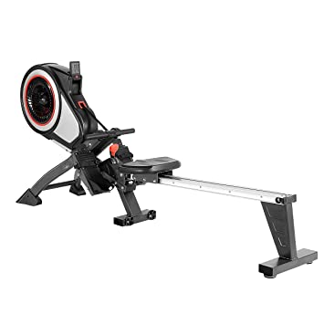 Quiet Magnetic Brake System Safety Tested Chest Strap Compatible SportPlus Indoor Rower with 8 Resistance Levels Max User Weight 150 Kg Ball Bearing Mounted Seat Foldable Rowing Machine