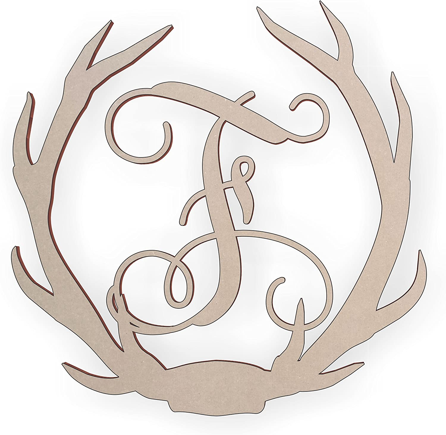 Jess and Jessica Wooden Deer Antler Monogram Letter F for Wall Decor or Door Hanger, Great for Gifts