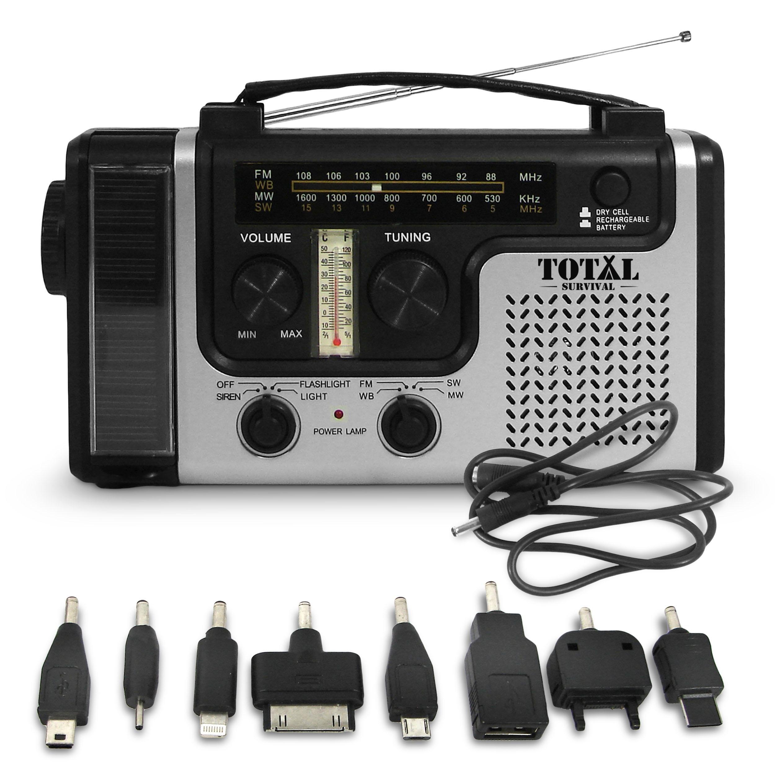 TOTAL SURVIVAL Dynamo Solar Hand Crank AM/FM NOAA Weather Emergency Radio, Smart Phone Charger & Flashlight