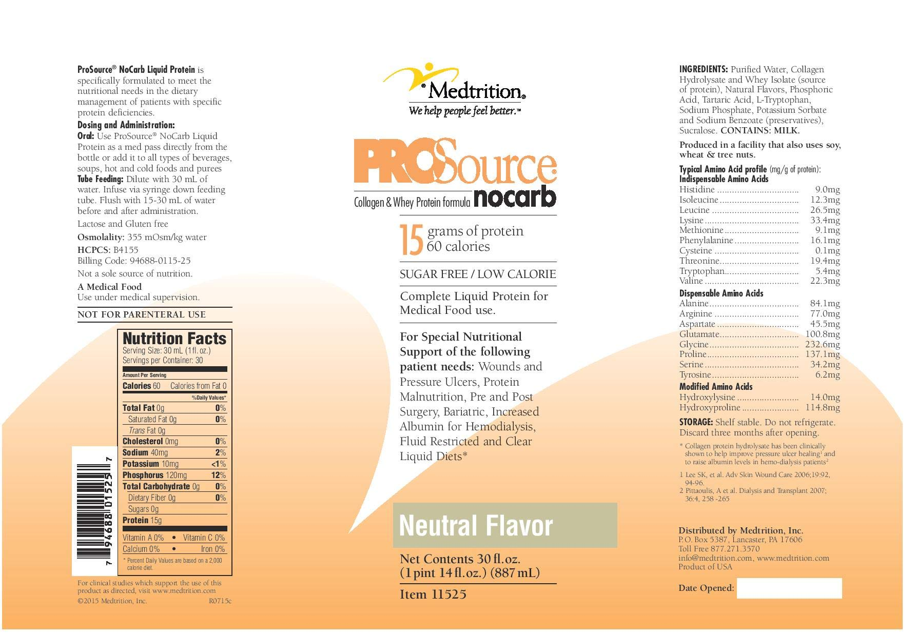 ProSource NoCarb Liquid Protein, Neutral Flavor, 30 Ounce Bottle - 1/Each by National Nutrition