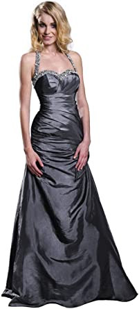 Stunning Halter Neck Silver Grey Evening Prom Ball Dress Gown UK8-22 + FREE Shawl