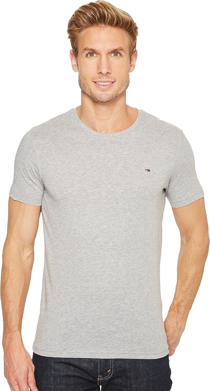 Tommy Hilfiger Denim Hombres Original de la tripulación Cuello Camiseta de Manga Corta - Gris -: Amazon.es: Ropa y accesorios