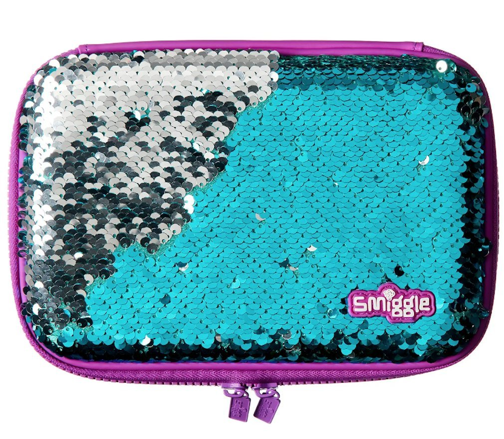 Smiggle Reverse Sequin Pencil Case - Silver/Purple
