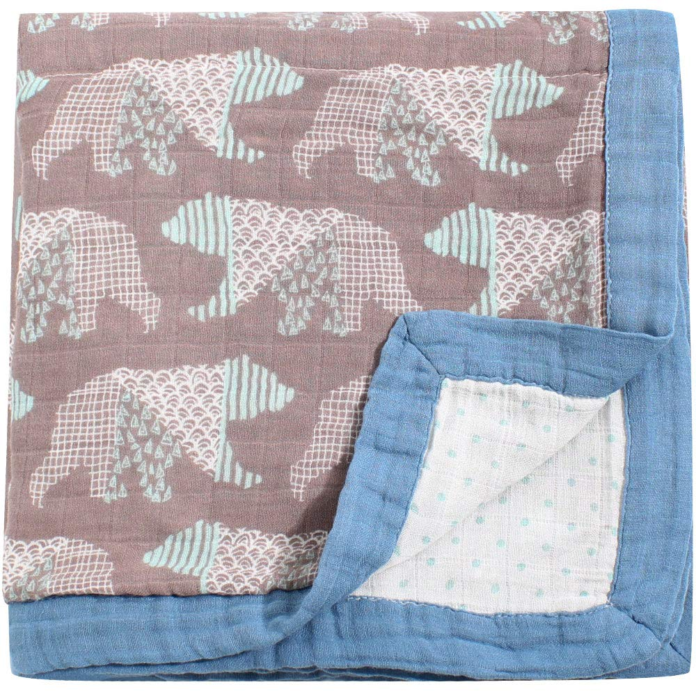 Large 45 x 45 Bear Print Bamboo Everything Blanket Lebze BB13.16-DoubleBear LifeTree Muslin Toddler Blankets for Boys or Girls 2 Layers Soft Baby Stroller Blanket