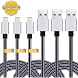 iPhone Charger,3Pack 10FT Lightning to USB Cable NylonBraided Charging Cord Compatible with iPhone X 8 Plus 8 7 Plus 7 6 6S 6 Plus 5S SE iPod iPad Mini Air Pro (Black Gray)