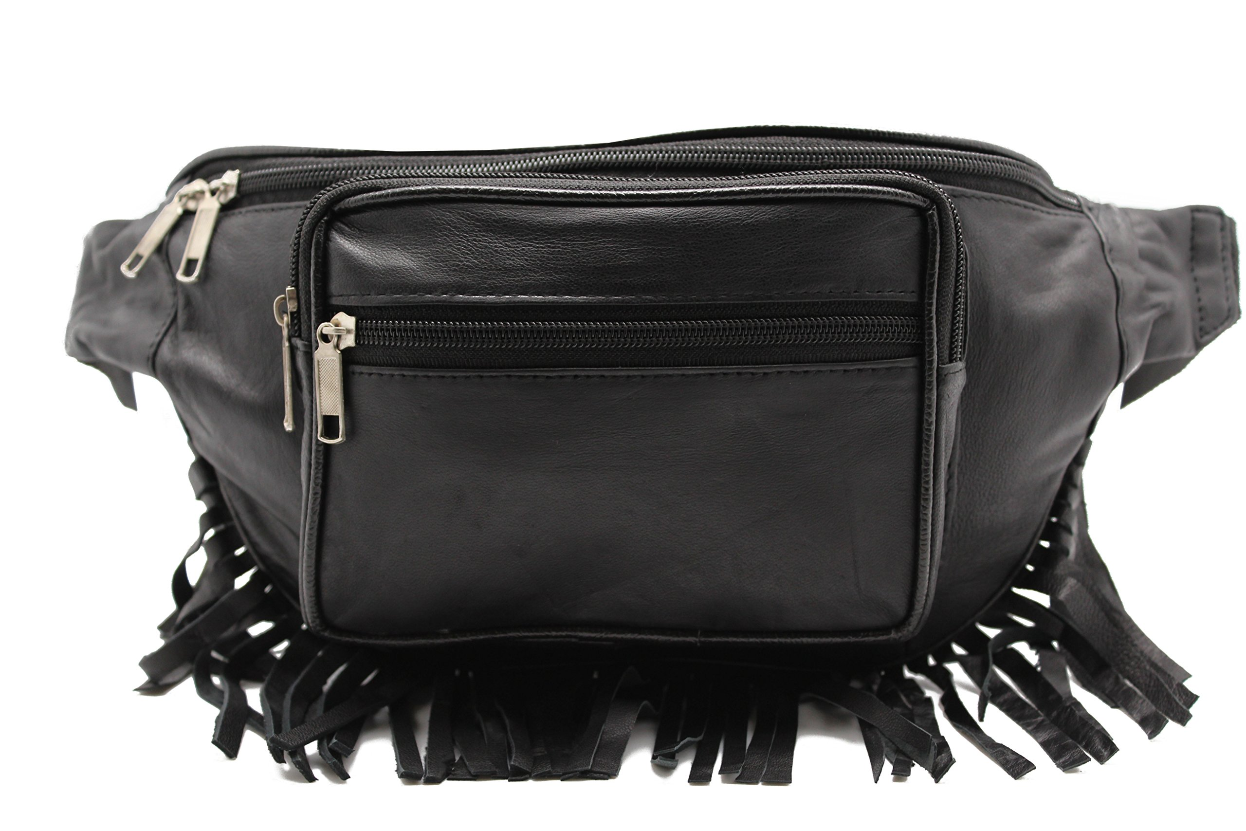 Genuine Leather Music Festival Fur Boho Red Indians Fringe Fanny Pack/Hip Pouch (JTC-51605) by Juzar Tapal Collection (Image #5)