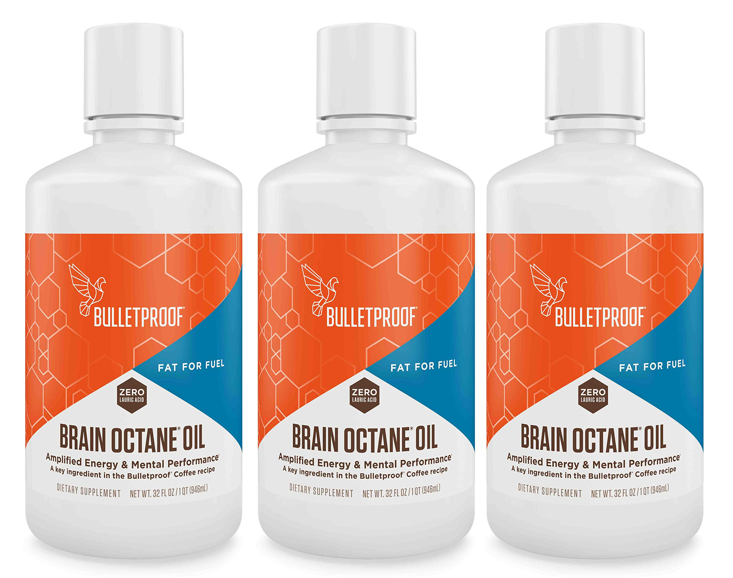 Bulletproof Brain Octane MCT Oil, Perfect for Keto and Paleo Diet, 100% Non-GMO Premium C8 Oil, Ketogenic Friendly, Responsibly Sourced from Coconuts Only, Made in The USA (3-Pack of 32oz) by Bulletproof