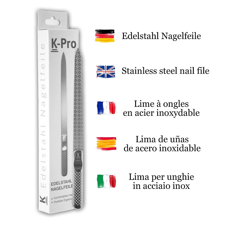 K-Pro Lima de uñas de acero inoxidable con grano fino y grueso - Largo 15,4 cm: Amazon.es: Belleza