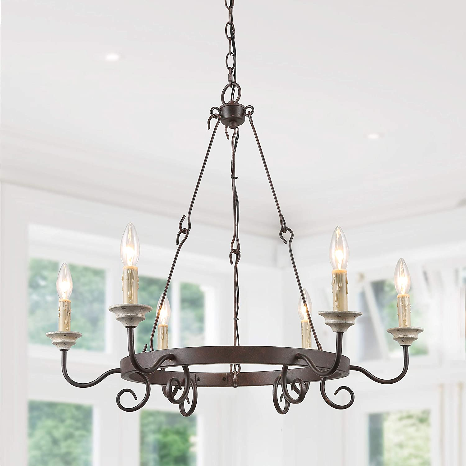 Laluz french country chandeliers for living room 6 light rusty wagon wheel kitchen island lighting for dining room 28 3 l x 26 4 h