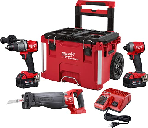 Milwaukee 2997-23SPO M18 FUEL 18-Volt Lithium-Ion Brushless Cordless Combo Kit 3-Tool with Two 5.0 Ah Battery and PACKOUT Rolling Tool Box