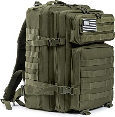 Yakmoo Assault Waterproof Backpack Tactical Military Pack Molle System Student Bag Large Multifunctional Rucksack 45L for Outdoors