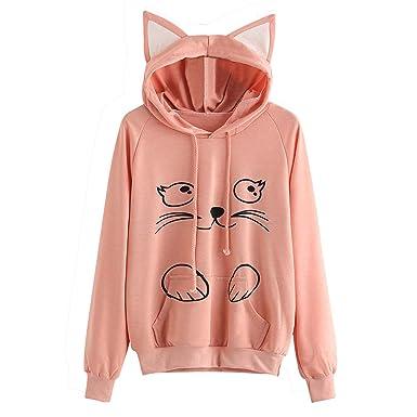 Longra lindo gato sudaderas con capucha mujer gato chicas tumblr largas  moda suéter tops ropa accesorios 420033579bac
