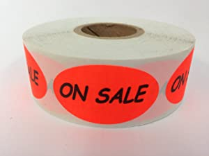 1 Roll 500 Labels .875 x 1.5 inch Oval Bright Red ON SALE Food Retail Package Labels Stickers