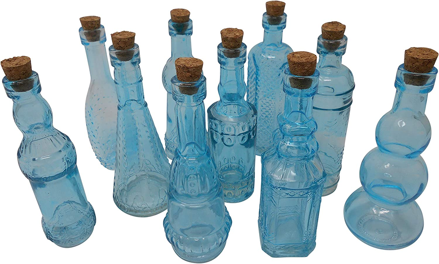 Set of 10 Bud Vases 5In Assorted Shapes Vintage Glass Bottles with Corks