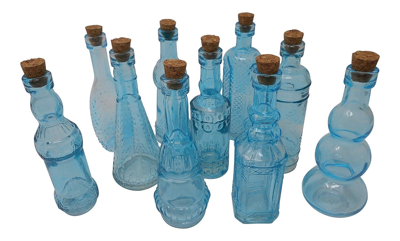Vintage Glass Bottles with Corks, Bud Vases, Assorted Shapes, 5 Inch Tall, Set of 10 Blue