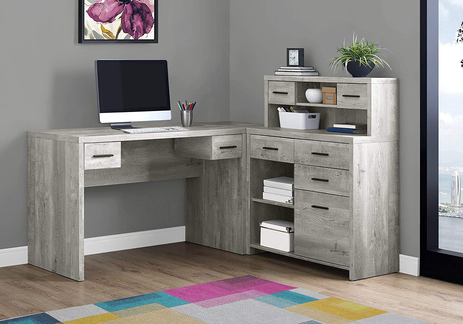 """Monarch Specialties Computer Desk L-Shaped - Left or Right Set- Up - Corner Desk with Hutch 60""""L(Grey Reclaimed Wood)"""