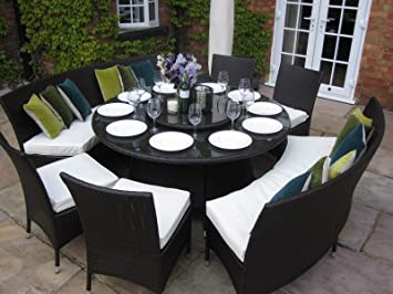 Madrid Grey Rattan Garden or Conservatory 10 Seat Round Dining