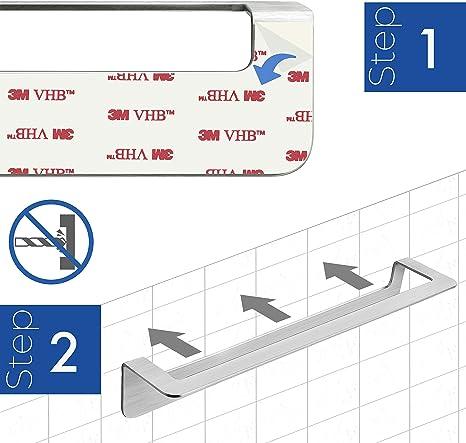 /organizer per accessori da bagno in nichel spazzolato Acciaio inossidabile senza fori Sliver 2 holes / Vzer durevole in acciaio INOX rasoio portaspazzolino//supporto con nastro adesivo 3/m