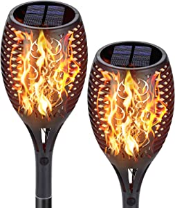 ivSunTEK Solar Lights Outdoor Decorative Landscape Torch Light with Flickering Flame, 60 LED Flame Lamp Outdoor Garden Stick Lights Waterproof Dusk to Dawn Security Light for Yard Patio Driveway