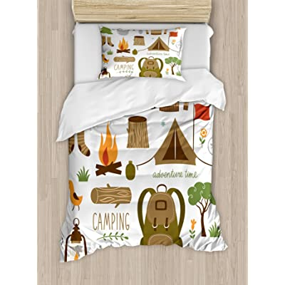 Ambesonne Adventure Duvet Cover Set, Camping Equipment Sleeping Bag Boots Campfire Shovel Hatchet Log Artwork Print, Decorative 2 Piece Bedding Set with 1 Pillow Sham, Twin Size, White Khaki: Home & Kitchen
