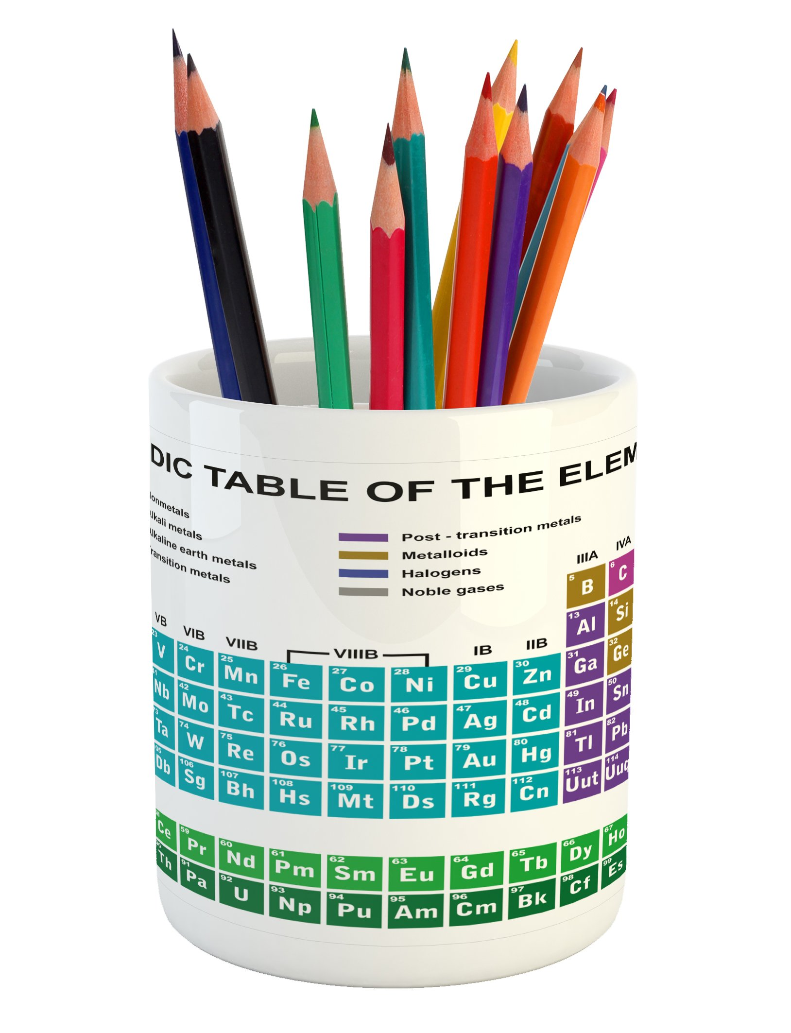 Ambesonne Periodic Table Pencil Pen Holder, Educational Artwork for Classroom Science Lab Chemistry Club Camp Kids Print, Printed Ceramic Pencil Pen Holder for Desk Office Accessory, Multicolor