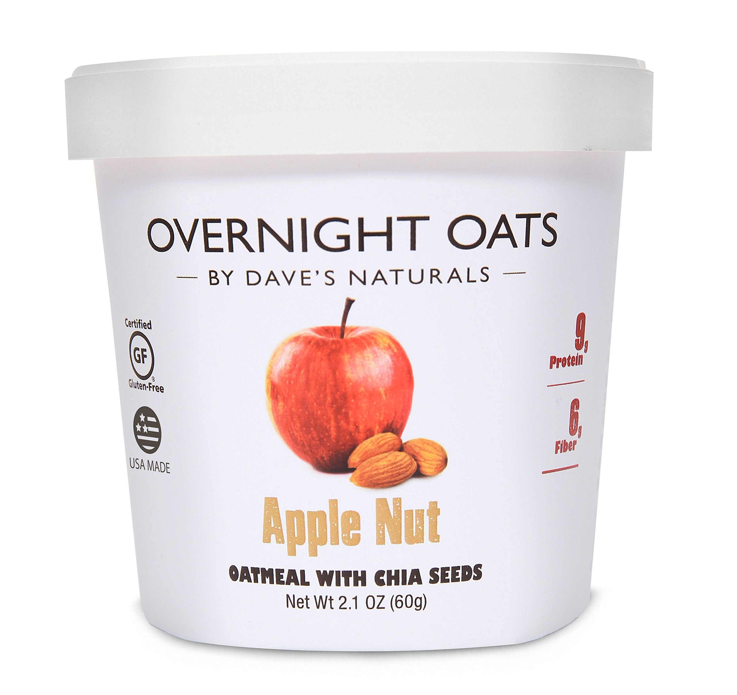 Overnight Oats by Dave's Naturals, Apple Nut Oatmeal Cup, Box of 8, Healthy Breakfast, With Chia Seeds and Gluten Free Whole Grain Oats by Overnight Oats