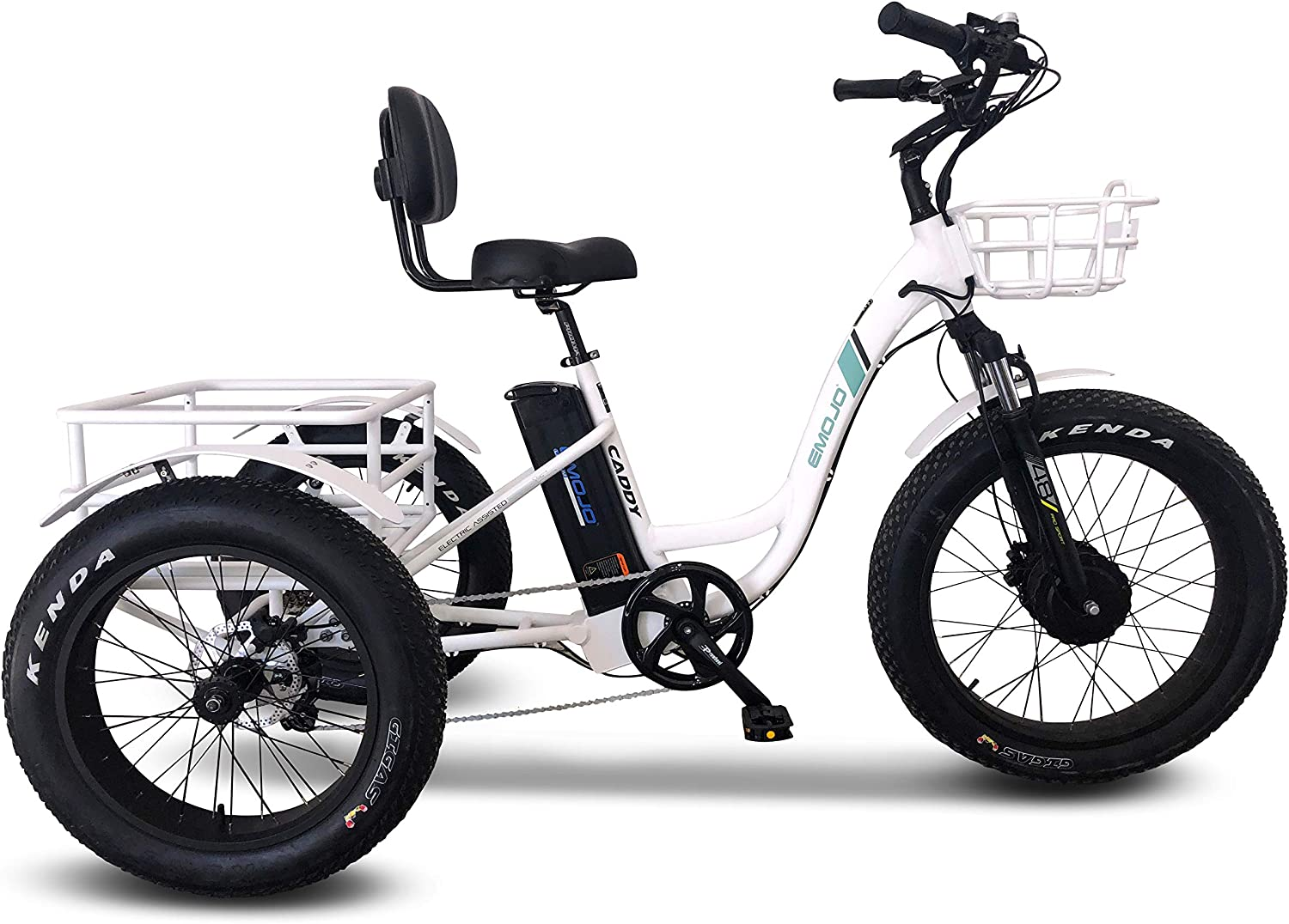 Emojo Caddy Pro//Caddy Electric Tricycle 48V 500W Best Electric Trike 24 Inch Fat Tire 3 Wheel Ebike Electric Bike Lithium Battery Rear Basket Cargo for Heavy-Duty Carrying or Delivery