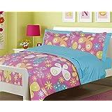 Girls Bedding Full 7 Pc. Butterfly Flower Pink Comforter and Blue Sheet Set