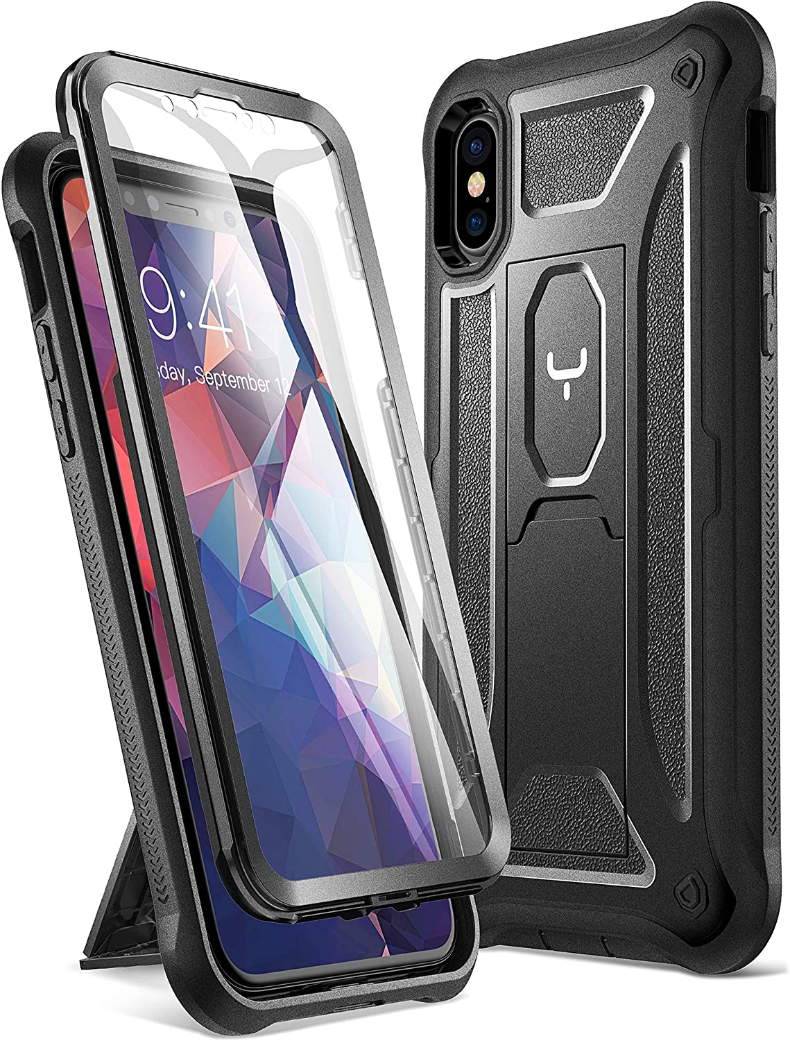 YOUMAKER  2020 Upgraded  iPhone Xs Case/iPhone X Case, Kickstand Case with Built-in Screen Protector for iPhone Xs/X 5.8 Inch - Black