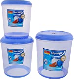 Storage Plastic Storage Containers, 3-Piece, Blue and Clear