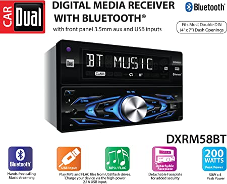 Dual Electronics DXRM58BT Multimedia Detachable 8 Character LCD Double Din Car Stereo with Built- in Bluetooth, USB, MP3 FLAC Playback