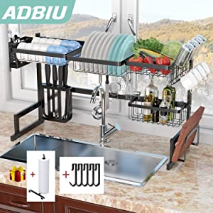 Dish Drying Rack Over The Sink Kitchen Shelf Compact Stainless Steel Storage Rack (Sink Length ≤ 36.5 inch)