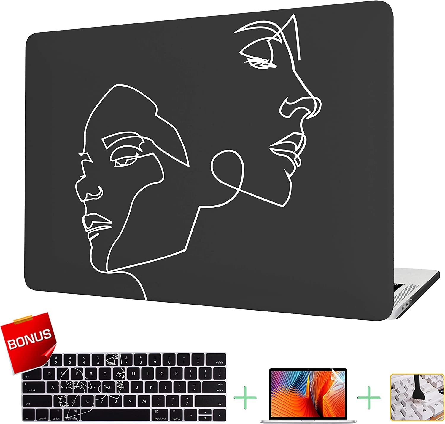 VAESIDA New MacBook Pro 13 Inch Case, Hard Laptop Cover Case & Keyboard Cover & Screen Protector Only Compatible New Mac Pro 13 Release 2016-2019 (Pro 13 Model A2159/A1706/A1708/A1989) (Face Sketch)