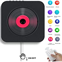 AONCO Portable CD Player, Bluetooth Wall Mountable CD Music Player Home Audio Boombox with Remote Control FM Radio Built-in HiFi Speakers, MP3 Headphone Jack AUX Input Output, Black