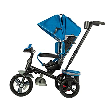 c97189558ae Evezo 302A 4-in-1 Parent Push Tricycle for Kids, Stroller Trike  Convertible, Swivel Seat, Reclining Seat, 5-Point Safety Harness, Full  Canopy, LED Headlight ...