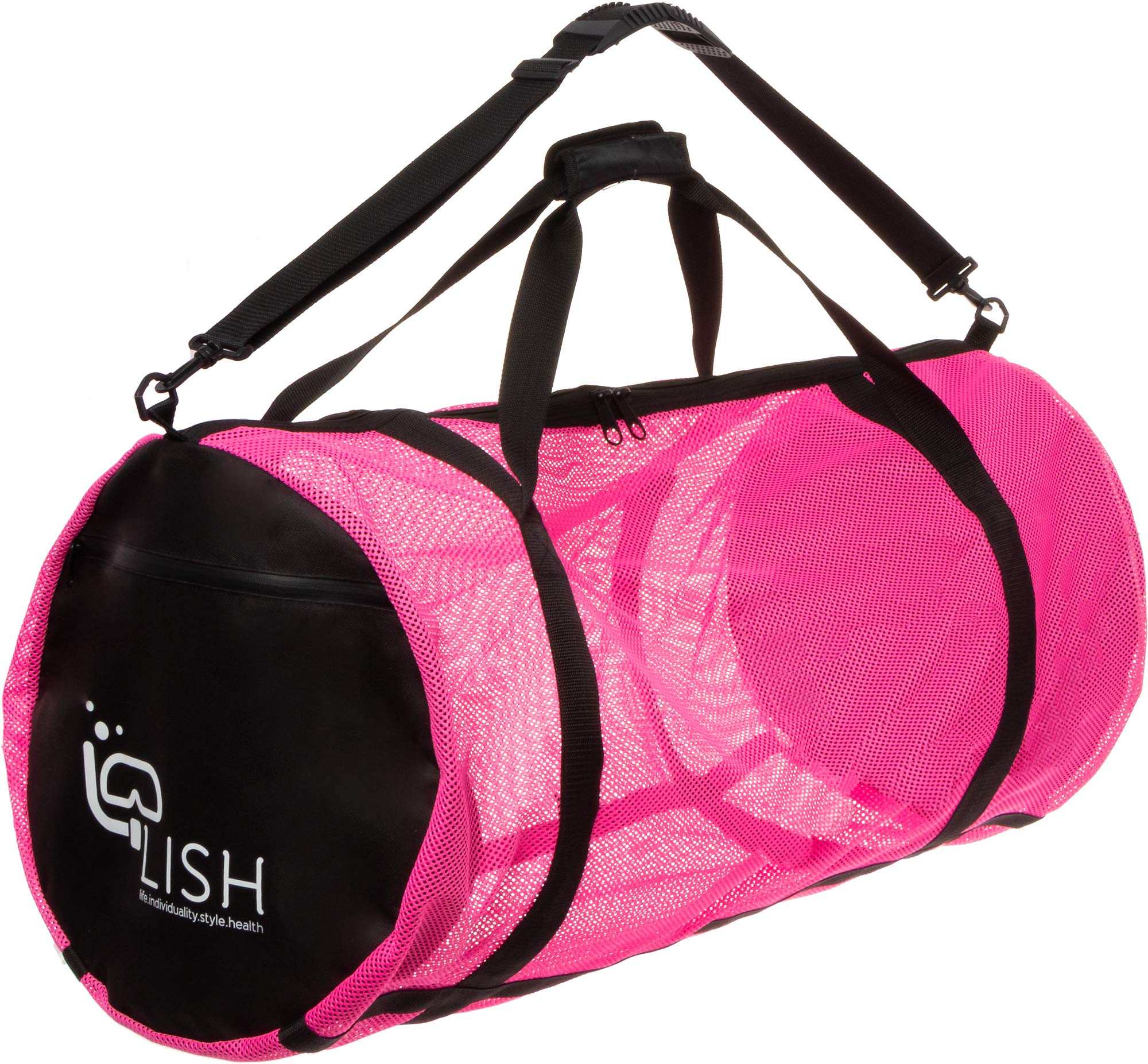 LISH Mesh Dive Bag - XL Multi-Purpose Equipment Diving Duffle Gear Tote, Ideal for Scuba, Snorkeling, Surfing and More (Pink) by LISH