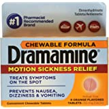 Dramamine Dimenhydrinate Tablets/Antiemetic, 50 mg, Chewable Tablets, Orange Flavor 8 tablets