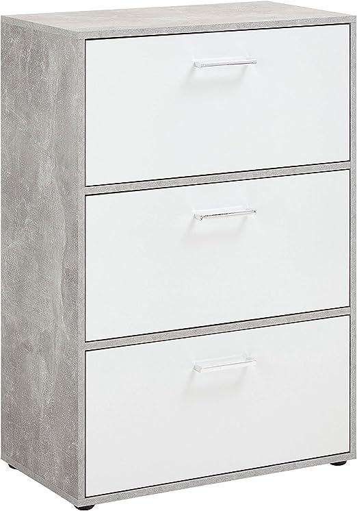 58.5 x 17 x 104.5 cm Holz FMD M/öbel 411-003 Step 3 Schuhkipper beton // wei/ß